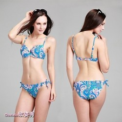 Women's Foshion Sexy Slim Cashew flowers  patterned bra two piece bikini suitmsuit