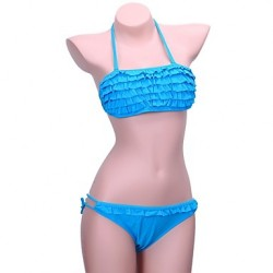Women's Bandeau Bikinis Australia , Solid/Ruffle Push-up/Padless Bra Nylon/Polyester Blue