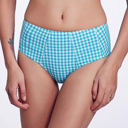 The Fille Women's Retro Folded /Mid Rise/Blue and White Lattice Bikini Australia Panties