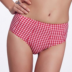 The Fille Women's Retro Folded /Mid Rise/Red and White Lattice Bikini Australia Panties