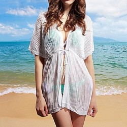 Women's Cover-Ups , Solid Cotton Blends White/Black