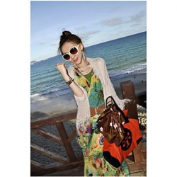 Women's Fashion Apricot Hollow-out Knitwear Tassel Beach Sunproot Cover-up