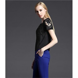 2015 New Summer Women Short-Sleeved Blouse Hollow Chinese Style Embroidered Flexibility HNY0714