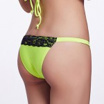 The Fille Women's Sexy Black Lacy /Color Block/Low Rise/Fluorescent Blue/ Purple/Green Triangle Bikini Australia Panties