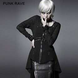 PUNK RAVE Y-463 Women's Vintage/Sexy Micro-elastic Long Sleeve Regular T-shirt (Cotton)