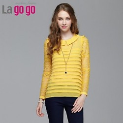 Women's Yellow/Beige Shirt Long Sleeve