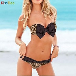 KissTies®Women's Sexy Black Bowknot Bikini