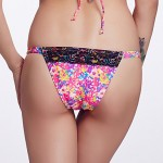 The Fille Women's Sexy Black Lacy /Color Block/Low Rise/Retro Printed Triangle Bikini Australia Panties