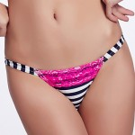 The Fille Women's Sexy Red Lacy /Color Block/Low Rise/Blue White Stripes Triangle Bikini Australia Panties