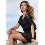 Hollow Out Knitted Loose Hot Spring Swimwear Beach Cover Up Women Bikini Mesh Sun Protective Beach Wear