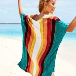 Rainbow Loose Knitted Hollow Out Beach Cover Up Holiday Bikini Swimwear Women