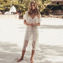 Tassel Lace Shirt Beach Cover Up Sexy V Neck Holiday Short Skirt Sun Protective Shirt Swimwear Beach Cover Up