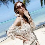 Crochet Hollow Out Bikini Beach Cover Up Sun Protective Clothing Mesh Knitted Skirt Beach Wear Women