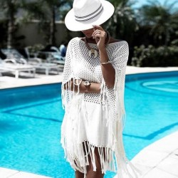 White Hollow Out Knitted Loose Bikini Beach Cover Up Sun Protective Clothing Beach Wear Swimwear Robe