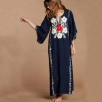 Loose Plus Size Embroidered Beach Wear Long Dress Holiday One Piece Dress Women Swimwear Beach Cover Up