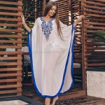 Chiffon Embroidered Loose One Piece Dress Swimwear Beach Cover Up Beach Sun Protective Clothing