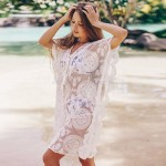 Sexy Lace Mesh Embroidered Sun Protective Clothing Beach Cover Up Bikini Swimwear Holiday Short Skirt