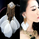 Bohemia Personality Feather Earrings Tassel Long Earrings Women