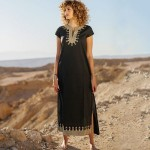 Black Golden Embroidered Long Beach Wear Holiday Long Dress Bikini Swimwear Beach Cover Up One Piece Dress