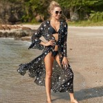 Chiffon Five Pointed Star Chiffon Cardigan Beach Sun Protective Bikini Cardigan Beach Cover Up Swimwear Women