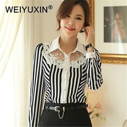 WEIYUXIN Women's Casual Stripe Lace Work Long Sleeve Shirts