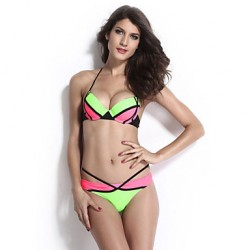 Women's Cream Dominated Halter Bikini Australia Swimsuit