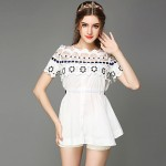 AOFULI Summer Women Clothing Embroidery Hollow Lace Casual Plus Size Short Sleeve Shirt Blouse