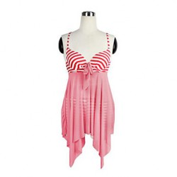 Women Sheer Nautical Stripe Push Up Tankini Set Swimsuit