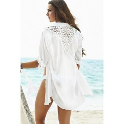 Women's Fashion Solid Chiffon Hollow crochet Swimwer Bikini Australia Beach Cover Up Sun Prevention Shirt