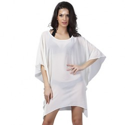 Women's Fashion Solid Chiffon Swimwer Bikini Australia Beach Cover Up Sun Prevention Mini Dress
