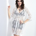 Women Beach Casual Inelastic ½ Length Sleeve Long Blouse Lace Cotton Blends