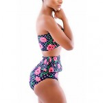 Women's Rose Pattern Polka Dot High-waisted Peplum Bikinis Australia