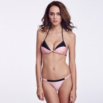 The Fille Women's Wireless/Padded Bras Luxe Two-Toned Triangle /Fluorescent Pink/ Black Halter Bikini Australia Tops