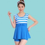 Women Bandeau Tankinis , Color Block Polyester Blue Red