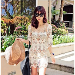 Women's Fashion Hollow Crochet Half-Sleeve Swimsuit Australia Swimwear Australia Bikini Australia Dress Beach Cover Up
