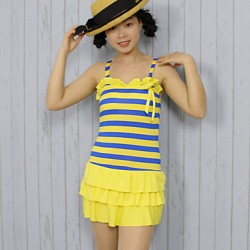 Women's Halter One-pieces , Color Block Polyester Blue/Yellow/Red