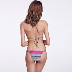 The Fille Women's Wireless/Padded Bras /Rose Red Lacy/Triangle Cups/ Ceramic Printed Halter Bikini Australia Tops