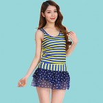 Women Halter One Pieces , Color Block Dot Polyester Pink Blue Black