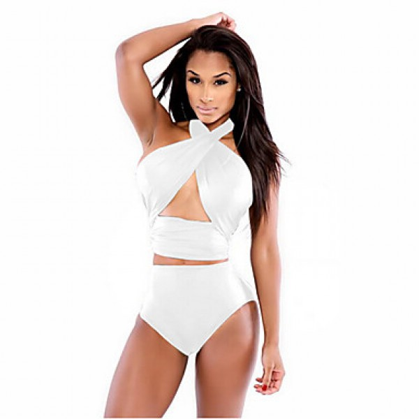 Women's Halter Tankinis , Solid Wireless Polyester White