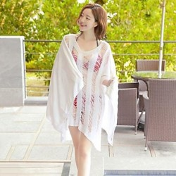 Women's Cover-Ups , Solid Cotton Blends White
