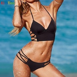 KissTies®Women's Sexy Black Beach Swimwear Australia Bikini Australia Set
