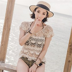 Women Solid Beige Blouse , Round Neck Short Sleeve Hollow Out
