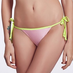 The Fille Women's Adjustable Stripped/Color Block/Fluorescent Pink/Orange Bikini Australia Triangle Panties
