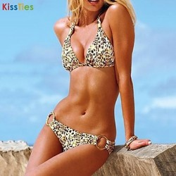 KissTies®Women's Fashion Nylon and Spandex Leopard Print Sexy Beach Swimwear Australia Bikini