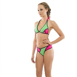 Women's Halter/Bandeau Bikinis Australia , Color Block Push-up Nylon/Polyester Multi-color