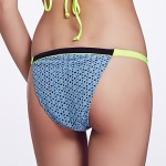 The Fille Women's Mosaic Multi-color /Low Rise/Green/Black/Fluorescent Blue Bikini Australia Triangle Panties
