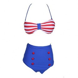 Anny Women Push Up Wireless Color Block Bandeau Bikinis Australia Polyester