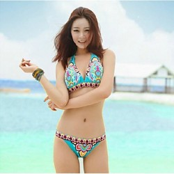 Anny Women's Wireless Color Block Straped Bikinis Australia (Polyester)