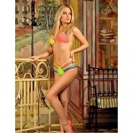 Anny Women's Wireless Cross/Color Block/Bandage Straped Bikinis Australia (Polyester)