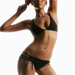 Women's Halter Bikinis Australia , Solid Push-up/Wireless/Strapped Polyester/Spandex Black